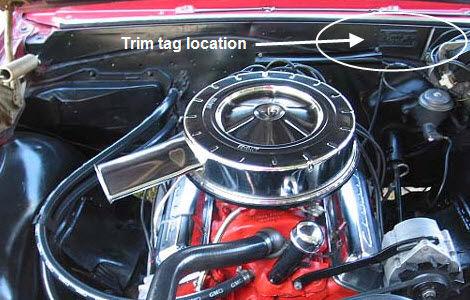 1964 Chevelle Trim Tag Breakdown Location Firewall 07 29 2009