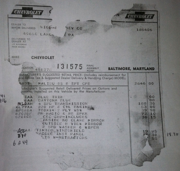 1964 Chevelle Miscellaneous Paperwork