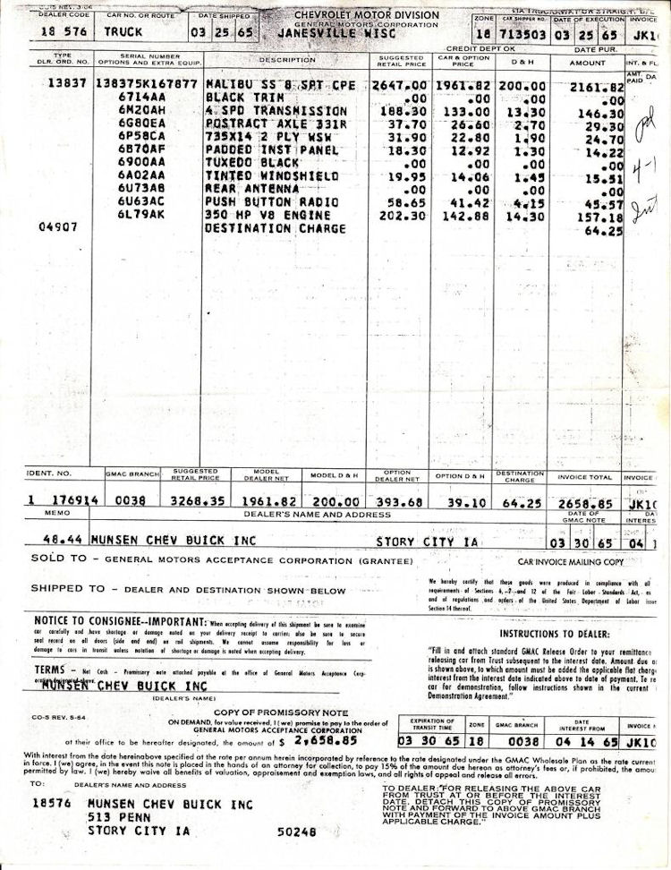 invoice dealer paperwork 1965 chevelle chevellestuff miscellaneous misc