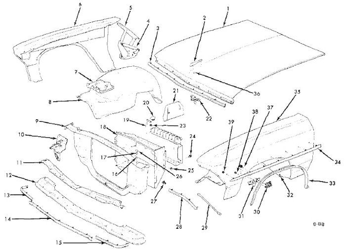 1966 chevelle front sheet metal 1964 Chevelle Malibu SS 1966 chevelle front sheet metal exploded view