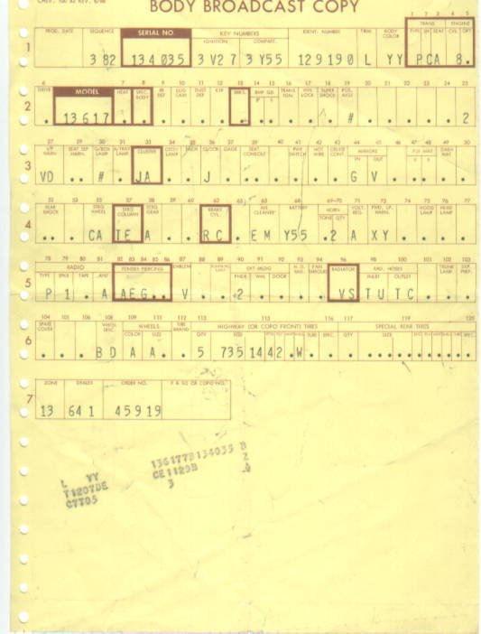 1967 Chevelle Baltimore Trim Tags