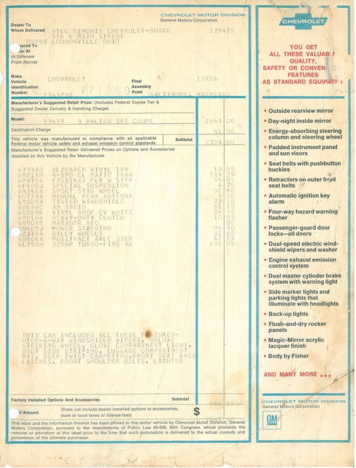 1968 Chevelle Miscellaneous Paperwork