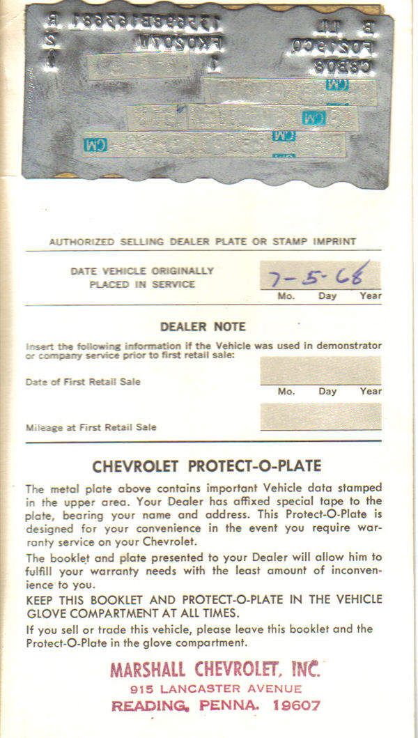 1968 Chevelle Protect O Plate Introduction
