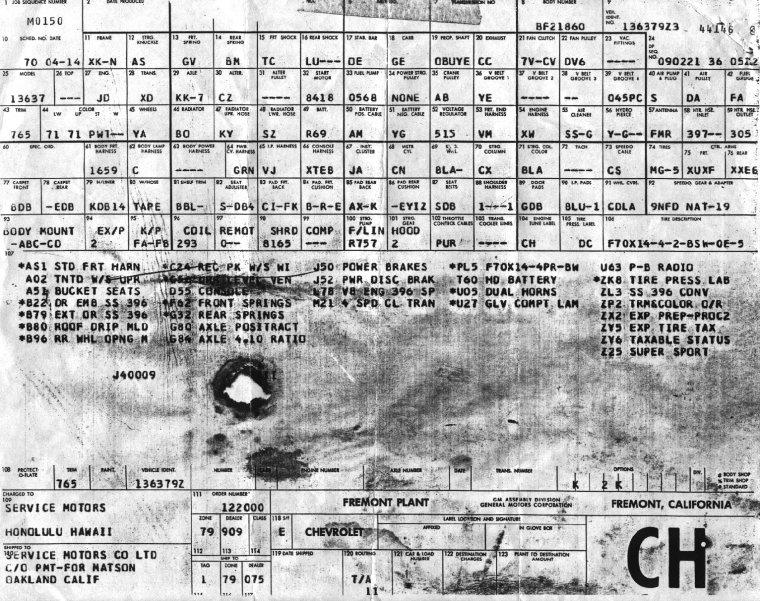 1969 Fremont Chevelle Build Sheet