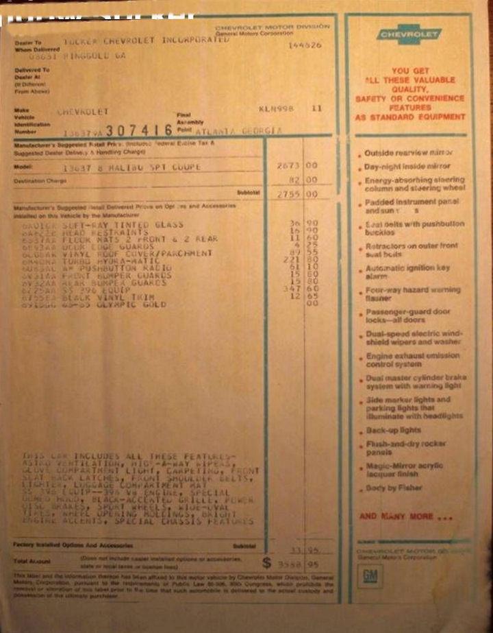 Chevrolet Dealers Kansas City >> 1969 Chevelle Miscellaneous Paperwork