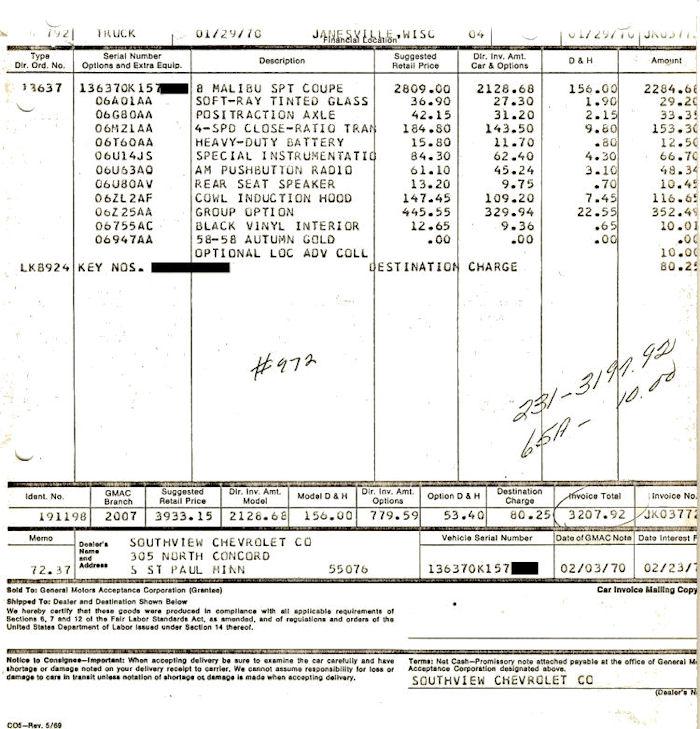 Chevelle Dealer Invoice - Mazda 6 dealer invoice