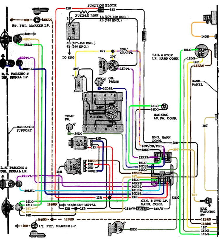 70diagram_color_1 chevy wiring diagrams chevy radio wiring \u2022 wiring diagrams j Tachometer Wiring Diagram Yamaha at bakdesigns.co