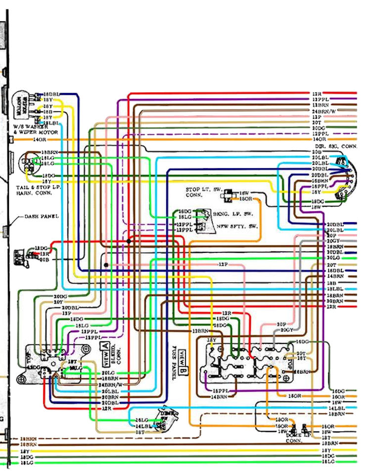 70diagram_color_2 1970 chevelle wiring diagrams 1970 chevelle dash wiring diagram at crackthecode.co