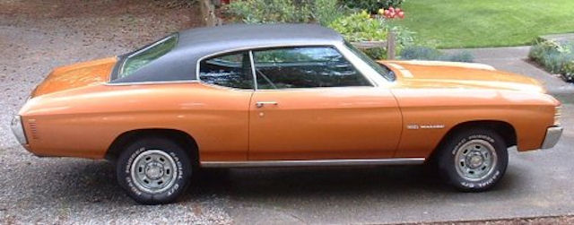62 B ~ Burnt Orange Malibu sport coupe, black vinyl top