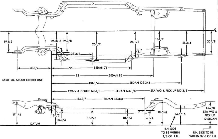 1967 Chevy Frame Dimension