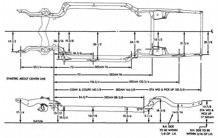 68 72 Chevelle Frame Dimensions