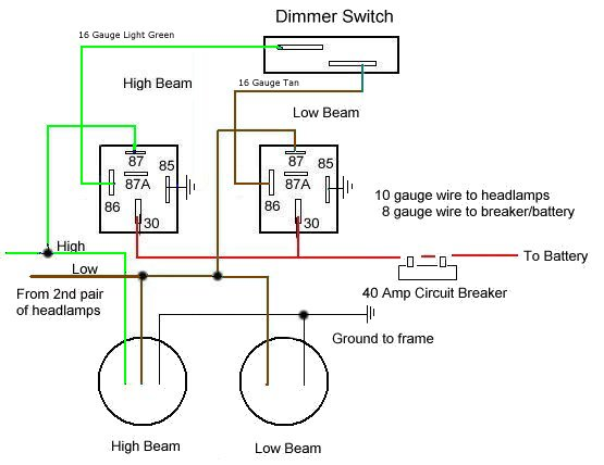 headlight dimmer switch wiring diagram corvette headlight wiring headlamp relay headlamp relay schematic