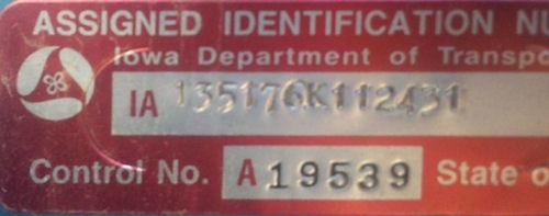 Vehicle Vin Number >> Iowa State VIN Information
